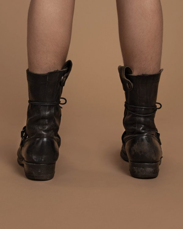 Vintage-Clothing-Silver Studded Black Leather Combat Boots 1
