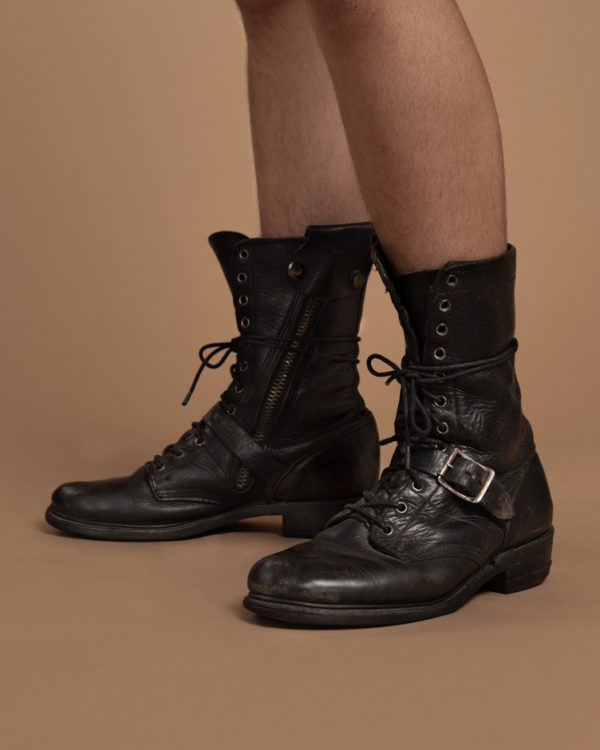 Vintage-Clothing-Silver Studded Black Leather Combat Boots